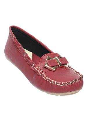 Schtaron S006 Maroon Women Loafer