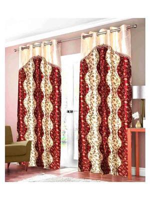 SAI ARPAN SAI00100219-2Pc Maroon Door Curtain