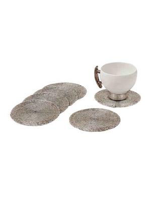 HOMEZ SC001 Silver Beaded Tea Coaster Set of 6