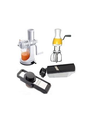Samy Ganesh Juicer, Compact Slicer, Single Slicer And Hand Blender (set Of 4)