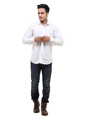 See Designs Sdmdwss14Sh137 White Men Casual Shirt