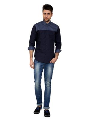 See Designs Sdmdwss15Sh187 Blue Men Casual Shirt