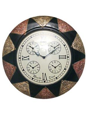 Surface180 Dual Colour Metal Fitted Wooden Wall Clock