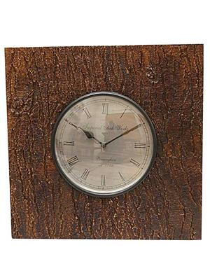 Surface180 Natural Look Wooden Square Wall Clock