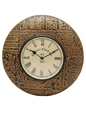 Surface180 Golden Shade Carving Round Wooden Wall Clock