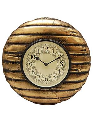 Surface180 Metal Fitted Golden Shade Wooden Round Wall Clock