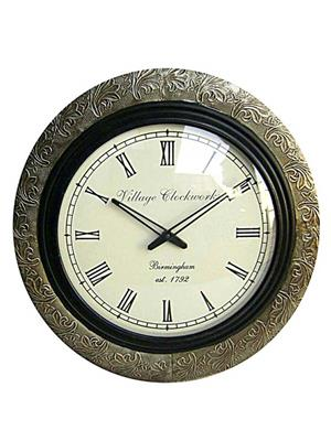 Surface180 Metal Fitted With Flower Design Round Wall Clock