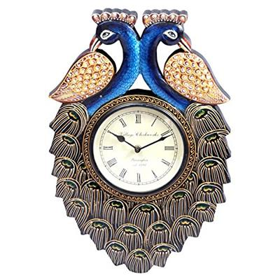 Surface180 Couple of Peacock in Opposite Face Wooden Wall Clock With Handpainted