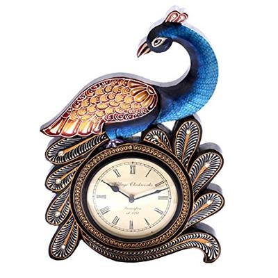 Surface180 Peacock On The Wall Clock With Handpainted Carving Feather