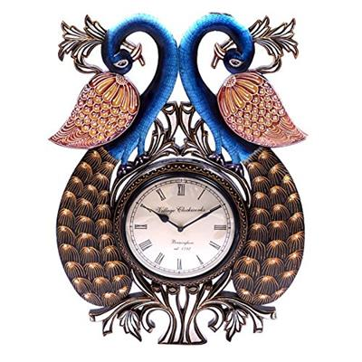 Surface180 Couple of Peacock On The Wall Clock Opposite Face in Down Neck Style With Handpainted Car