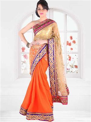 Suchi Fashion SFEEV50302 Orange Women Saree
