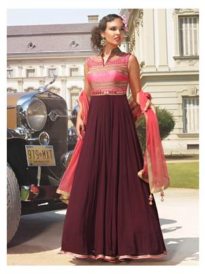 Shreeji Fashion Sfg04 Brown-Pink Women Anarkali Suit