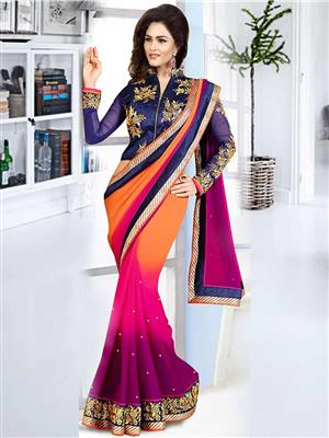 Suchi Fashion SFMIL50790 Orange Women Saree