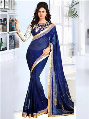 Suchi Fashion SFMIL50791 Dark Blue Women Saree