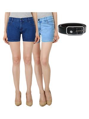Ansh Fashion Wear DB-LB-BELT Blue Women Short Set Of Combo pack