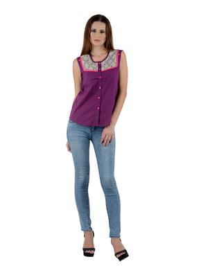 Sassily SHT8004-Purple Women Top