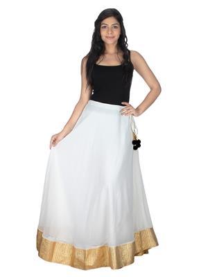 Lauriel SKT9020-Crm White-Golden Women Skirt