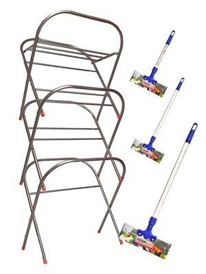 SBI Skyhigh Cloth Drying Stand and Bright Stainless Steel Floor Wiper( combo of 1 Feet , 2 Feet, 3 F