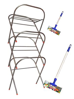 SBI Skyhigh Cloth Drying Stand and Bright Stainless Steel Floor Wiper( combo of 1 Feet , 3 Feet)