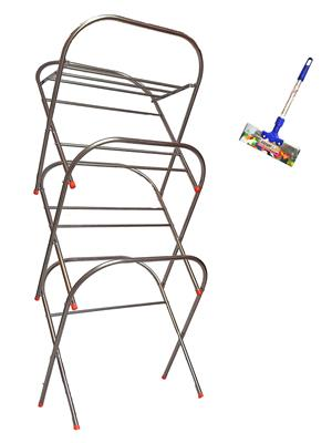 SBI Skyhigh Cloth Drying Stand and 1 -1Feet Bright Stainless Steel Floor Wiper
