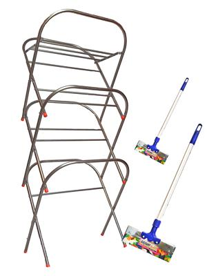 SBI Skyhigh Cloth Drying Stand and Bright Stainless Steel Floor Wiper( combo of 2 Feet , 3 Feet)