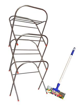 SBI Skyhigh Cloth Drying Stand and 1 -3 Feet Bright Stainless Steel Floor Wiper