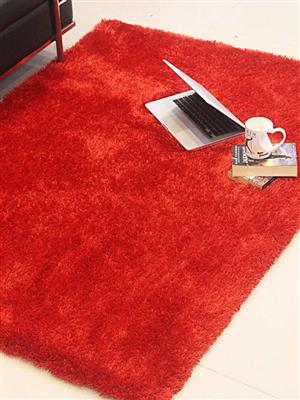 Royzez Handmade Polyester Shaggy Rug Red K00102
