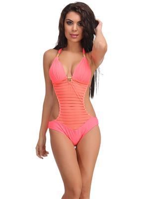 Clovia Orange Polyamide Monokini Swimsuit With Jacquard Stripes