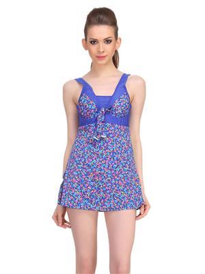 Clovia Polyamide Padded Floral Print Monokini Swim Suit In Blue