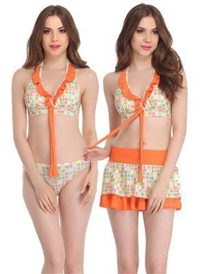 Clovia 3 Piece Polyamide Skirted & Bikini Swimsuit In Orange