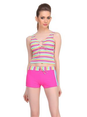 Clovia Two Piece Polyamide Striped Beachwear Set In Hot Pink