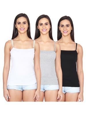 Ansh Fashion Wear Spg-229-Wht-Gry-Blk Multicoloured Women Camisole Set Of 3