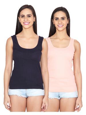 Ansh Fashion Wear Spg-505-Dark Blue-Pink Women Camisoles Pack Of 2