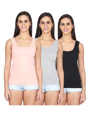 Ansh Fashion Wear Spg-505-Pnk-Gry-Blk Multicoloured Women Camisole Set Of 3