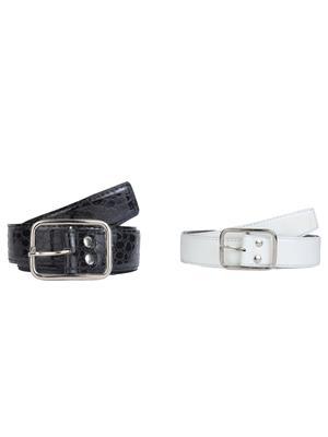 Srs 023-026-Crc Black-White Men Belt Set Of 2