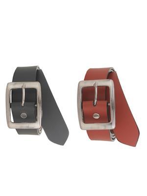 Srs Bhn-1101-Black-Brown Men Belt Set Of 2