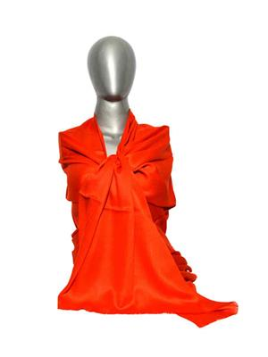 Kaka SS05 Orange Women Semi Pashmina Shawls