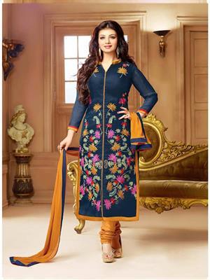 Isha Enterprise ST-129 Blue-Yellow Women Salwar Suit
