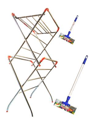 SBI Star Cloth Drying Stand and Bright Stainless Steel Floor Wiper( combo of 1 Feet , 3 Feet)
