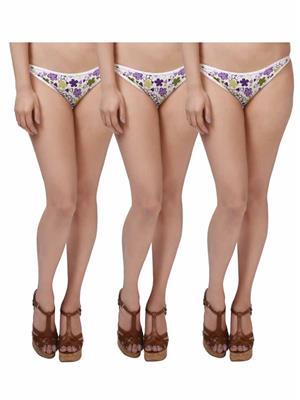 Colors StP007 Purple Women Panties Combo (Pack of 3)
