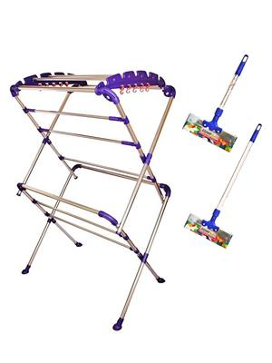 SBI Sumo Cloth Drying Stand and Bright Stainless Steel Floor Wiper( combo of 1 Feet , 2 Feet)