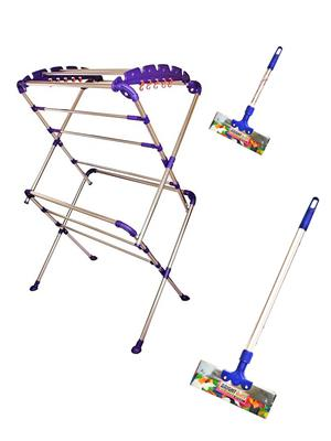 SBI Sumo Cloth Drying Stand and Bright Stainless Steel Floor Wiper( combo of 1 Feet , 3 Feet)