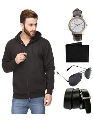 Ansh Fashion Wear SW-1-WPBS Men Sweatshirt,Watch,Wallet,Sunglass With Belt