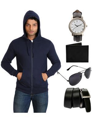 Ansh Fashion Wear SW-2A-WPBS Men Sweatshirt,Watch,Wallet,Sunglass With Belt