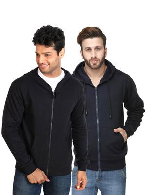 Ansh Fashion Wear SW-2CM-BLDB Black-Blue Men Sweatshirt Set Of 2