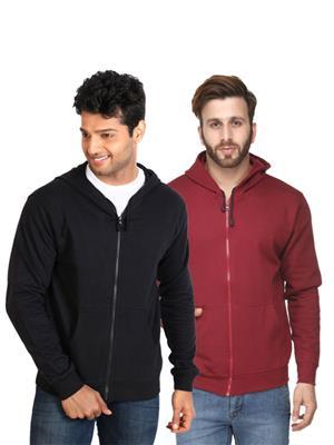 Ansh Fashion Wear SW-2CM-BLMR Black-Maroon Men Sweatshirt Set Of 2