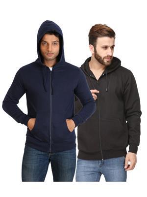Ansh Fashion Wear SW-2CM-DB Black-Blue Men Sweatshirt Set Of 2