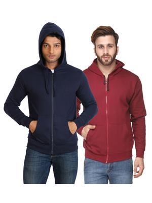 Ansh Fashion Wear SW-2CM-DBMR Maroon-Blue Men Sweatshirt Set Of 2