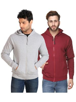 Ansh Fashion Wear SW-2CM-GRMr Grey-Maroon Men Sweatshirt Set Of 2