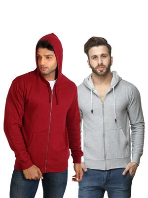 Ansh Fashion Wear SW-2CM-Mrg Grey-Maroon Men Sweatshirt Set Of 2